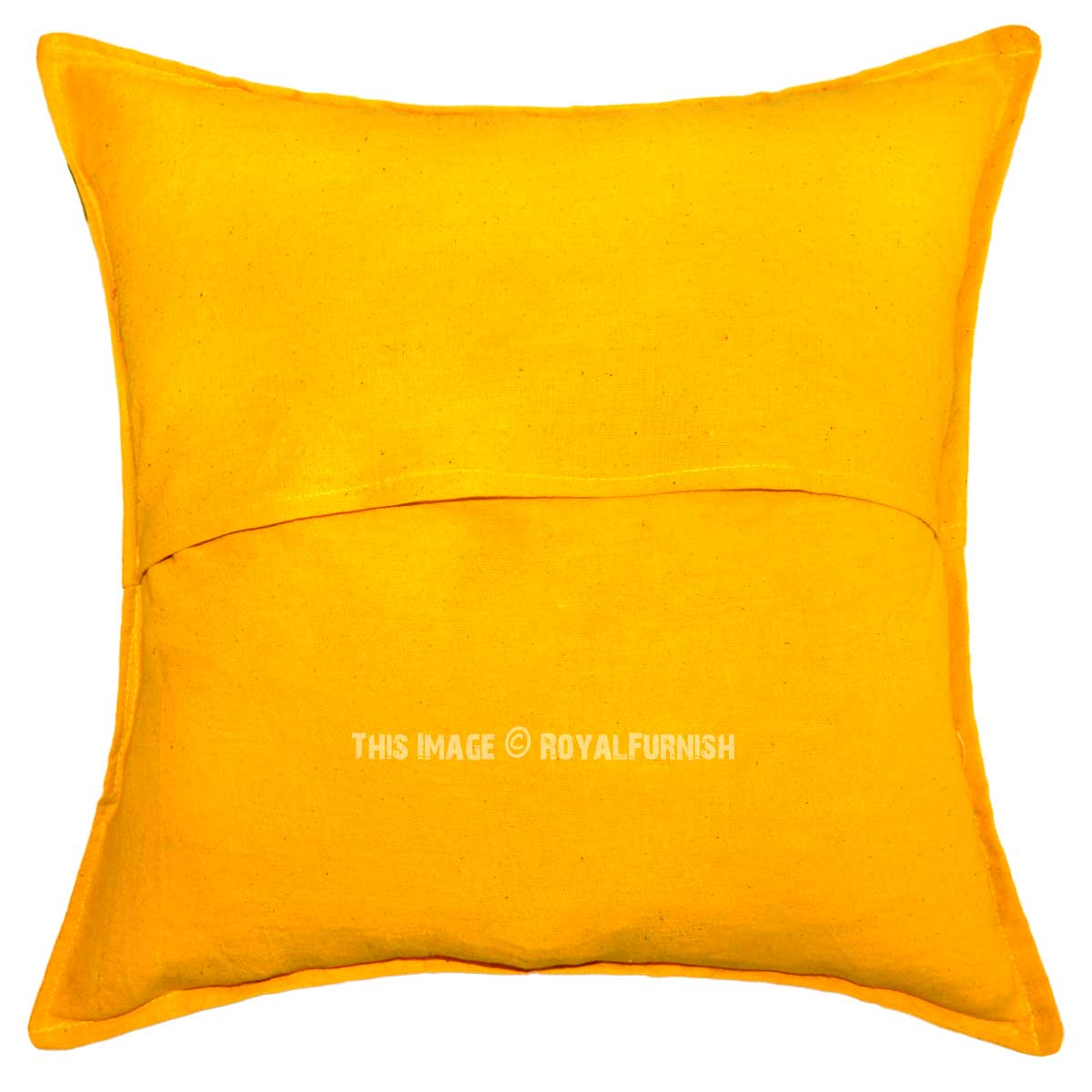 Throw Me A Pillow Coupon Code : 16X16 Unique Yellow Handmade Mirror Embroidered One-Of-A-Kind Pillow Case - RoyalFurnish.com