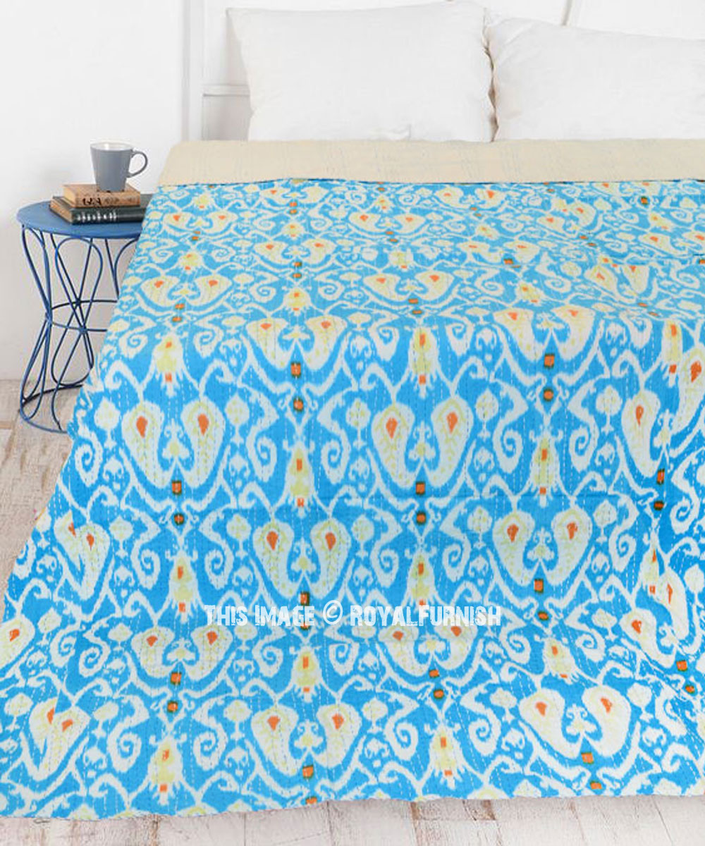 Twin Size Indigo Print Floral Kantha Quilt Twin Size Bedspread