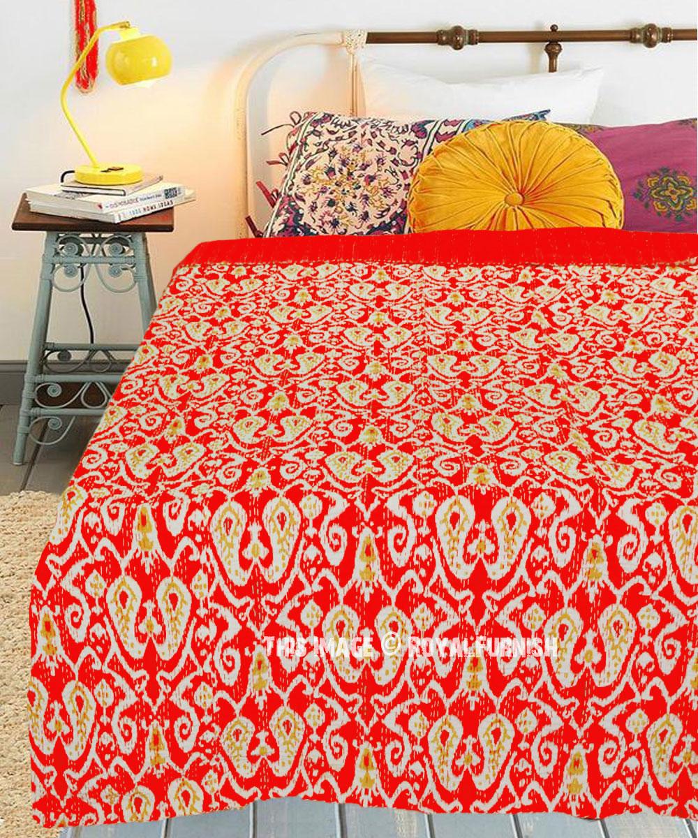 Boho Kantha Quilt Indian Kantha Throw Suzani Kantha Bedspread Bedcover Cotton Handmade Kantha Coverlet Blanket Gudri