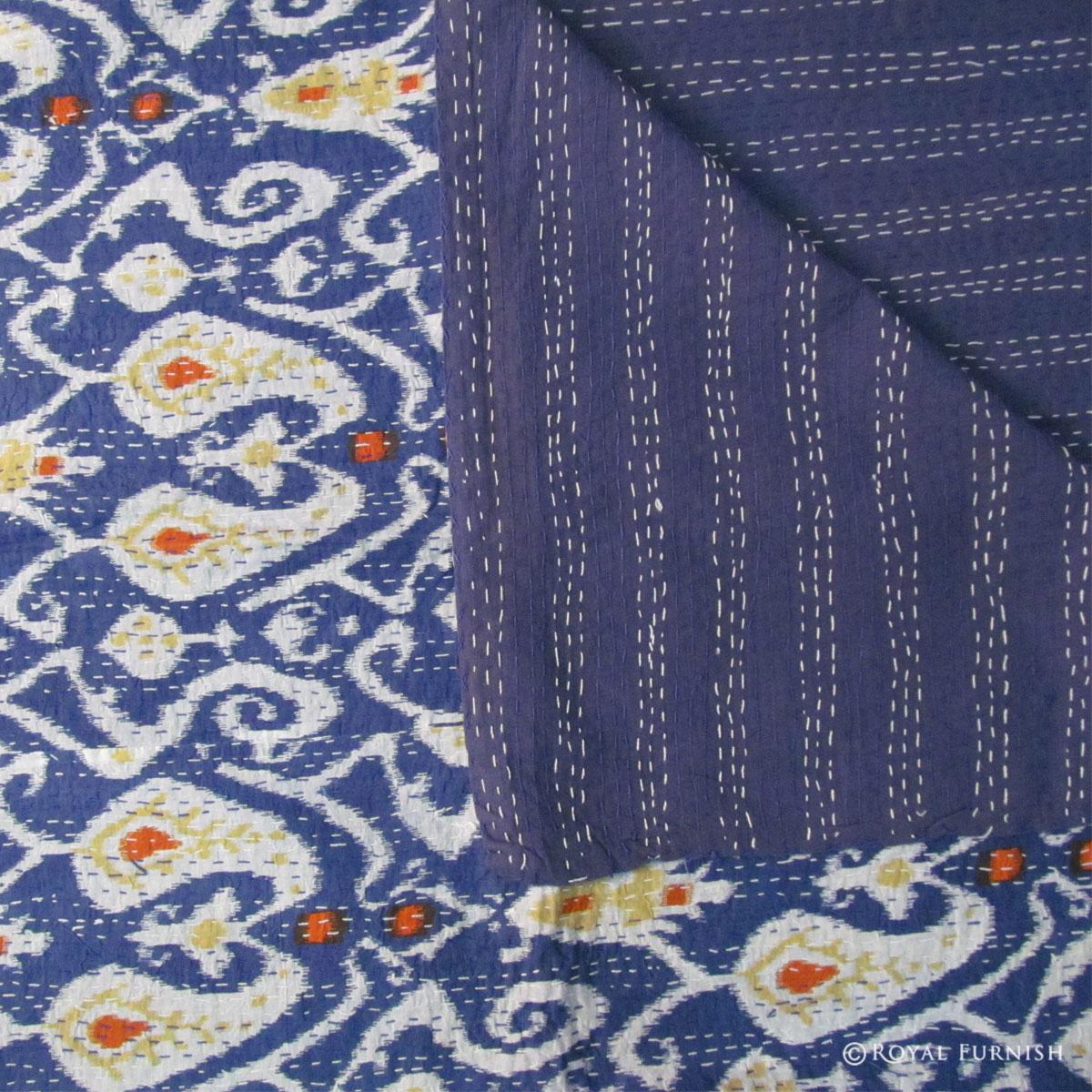 Blue Queen Size Floral Print Ikat Kantha Quilt Blanket