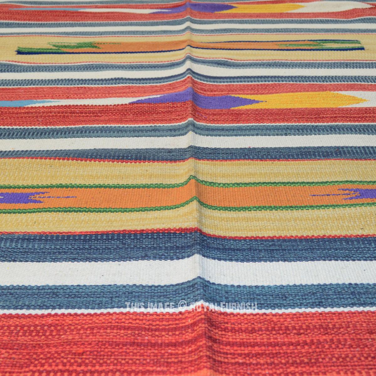Beige Amp Maroon Hand Woven India Geometric Kilim Rag Rug