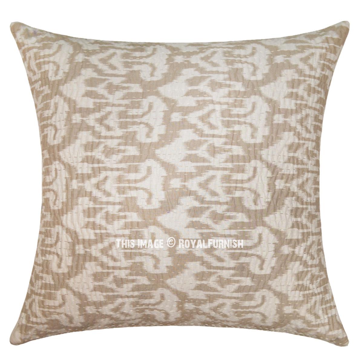 24 Big Gray Indian Decorative Ikat Kantha Throw Pillow Cover