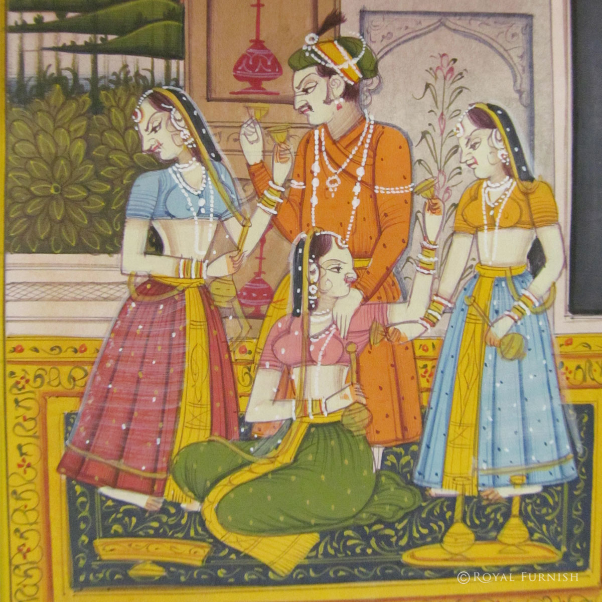 Rajasthan Miniature Painting Mughal King Love Scene Life