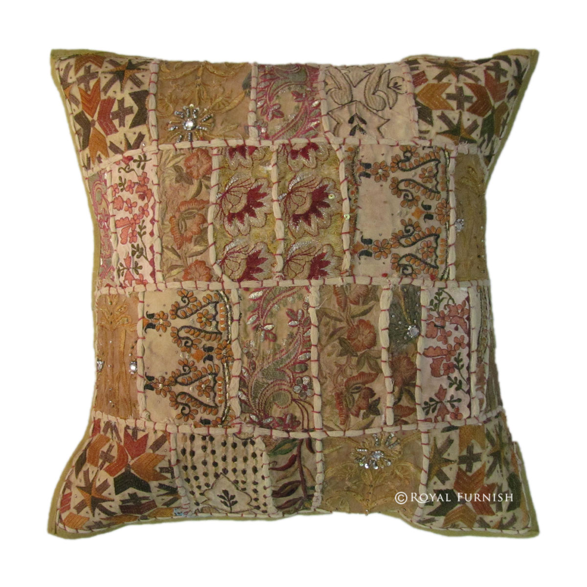 Green Antique India Patchwork Cotton Throw Pillow Sham - RoyalFurnish.com