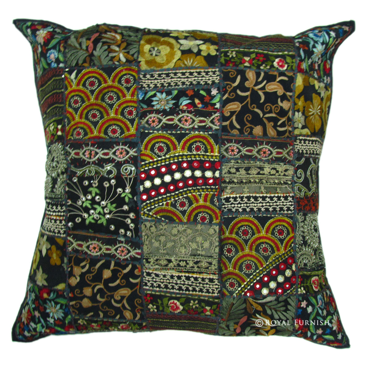 Oversized Black Throw Pillow : 24 Inch Large Black Multi Sari Patchwork Throw Pillow - RoyalFurnish.com