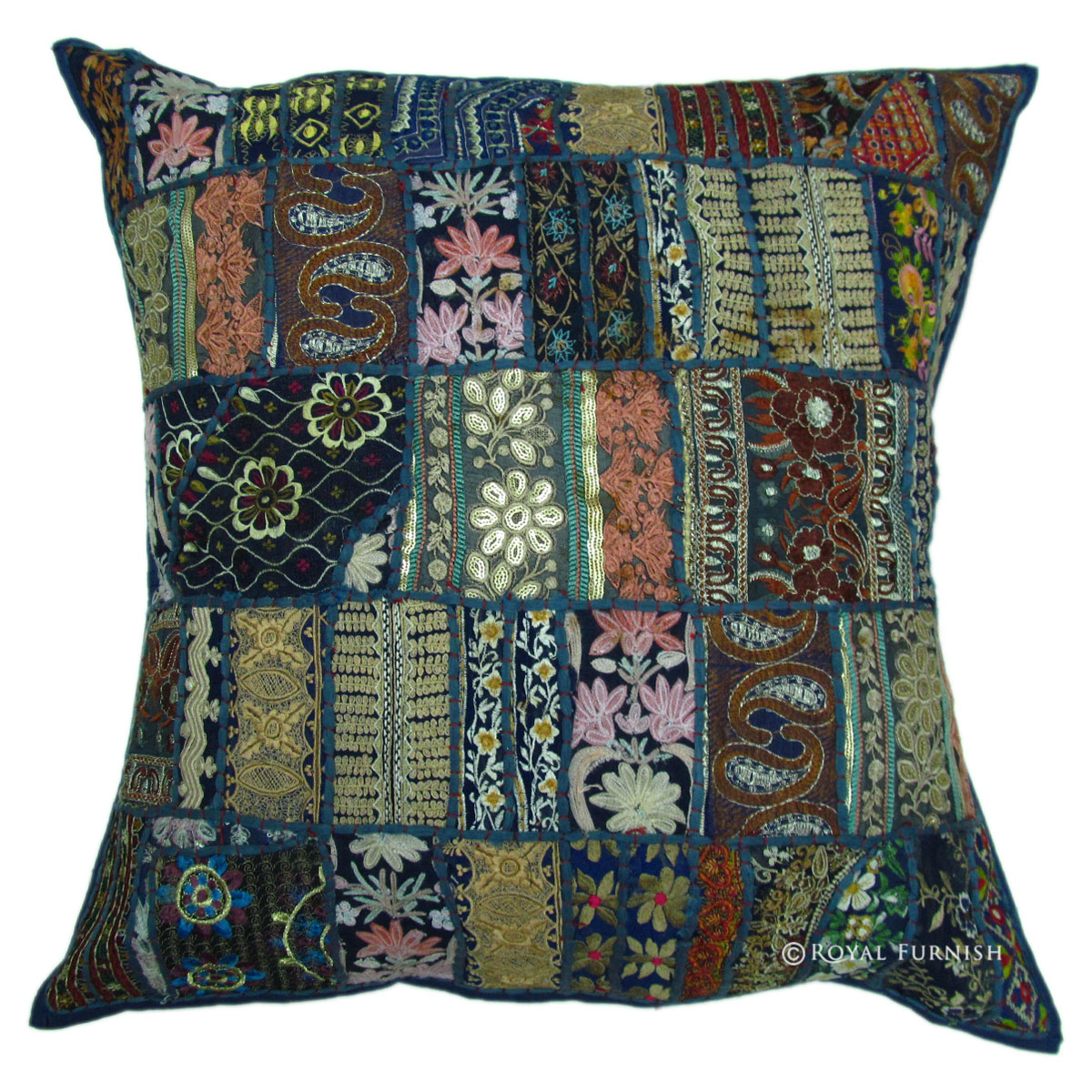 24 Inch Oversized Blue Multi Patchwork Throw Pillow