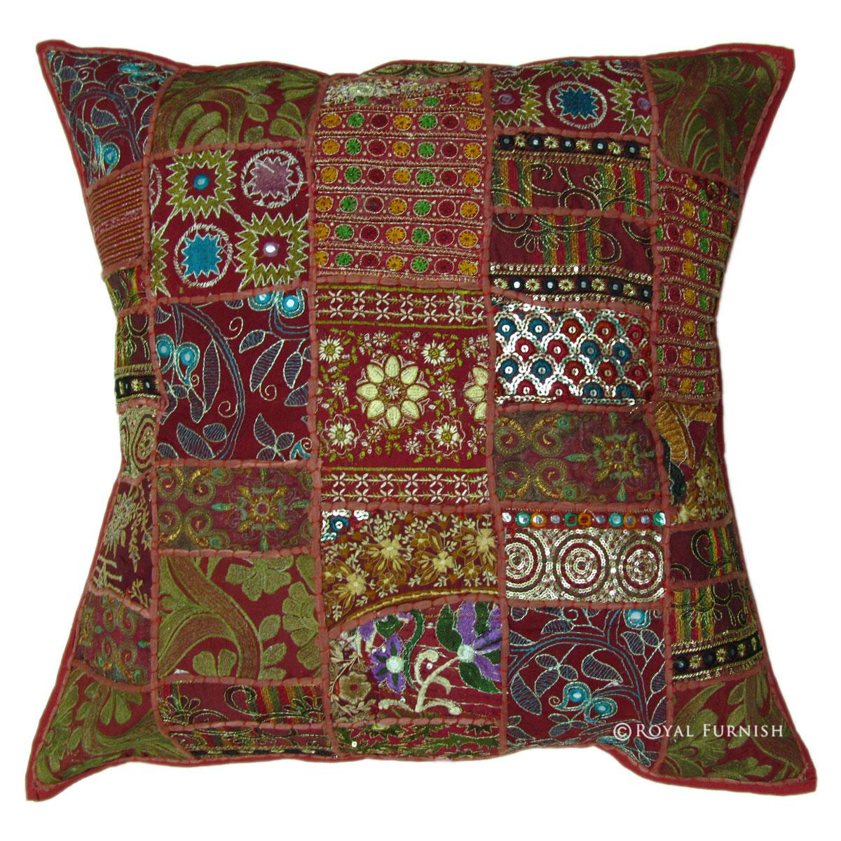 24x24 Inch Large Indian Sari Patchwork Throw Pillow - RoyalFurnish.com