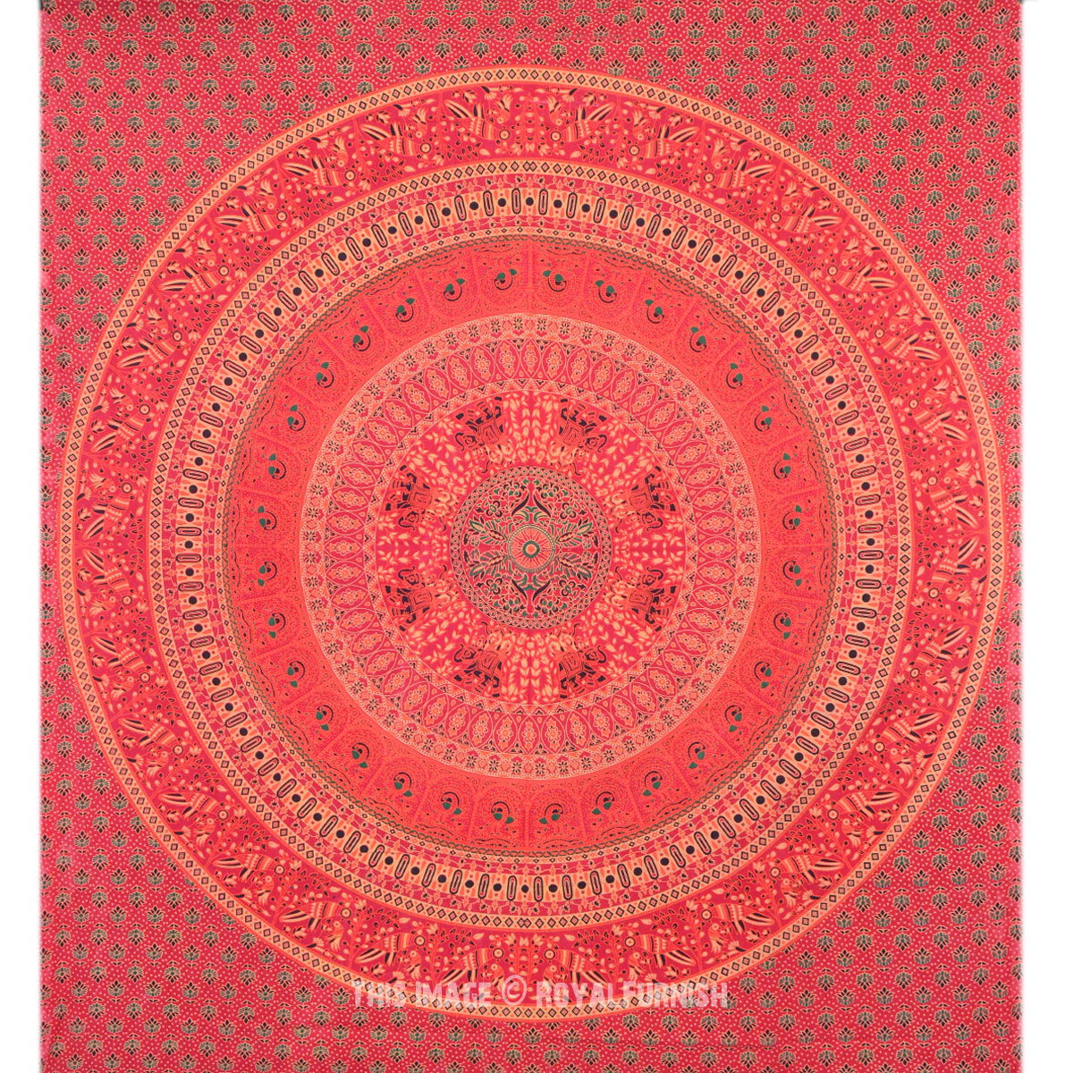 Indian Red Floral Bird Paradise Mandala Tapestry Bed Cover - RoyalFurnish.com