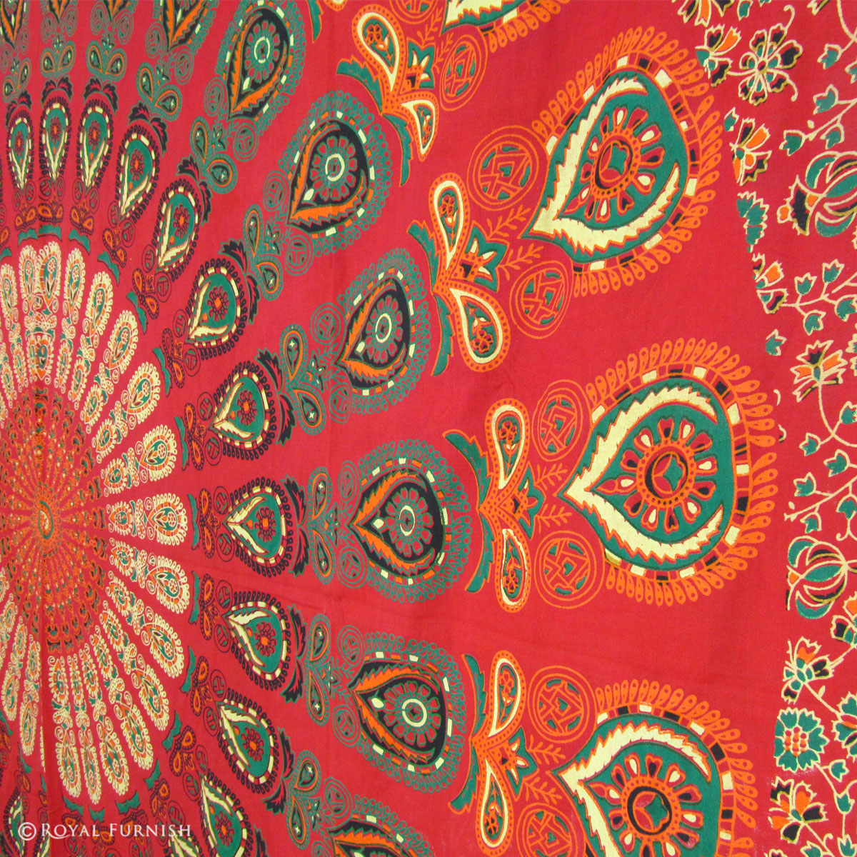 Indian Red Floral Hippie Bohemian Mandala Tapestry
