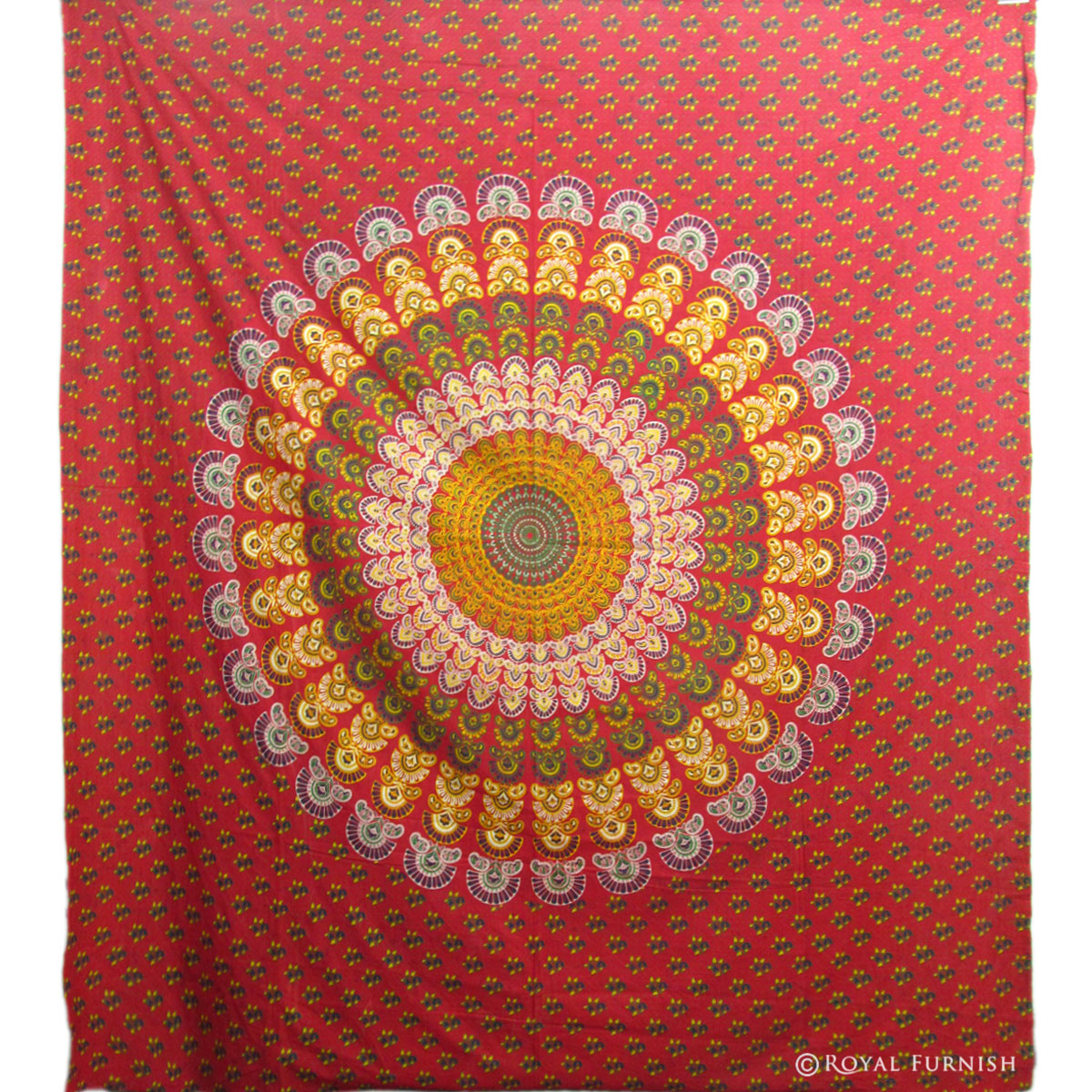 Red Mandala Hippie Bohemian Tapestry Wall Hanging ...