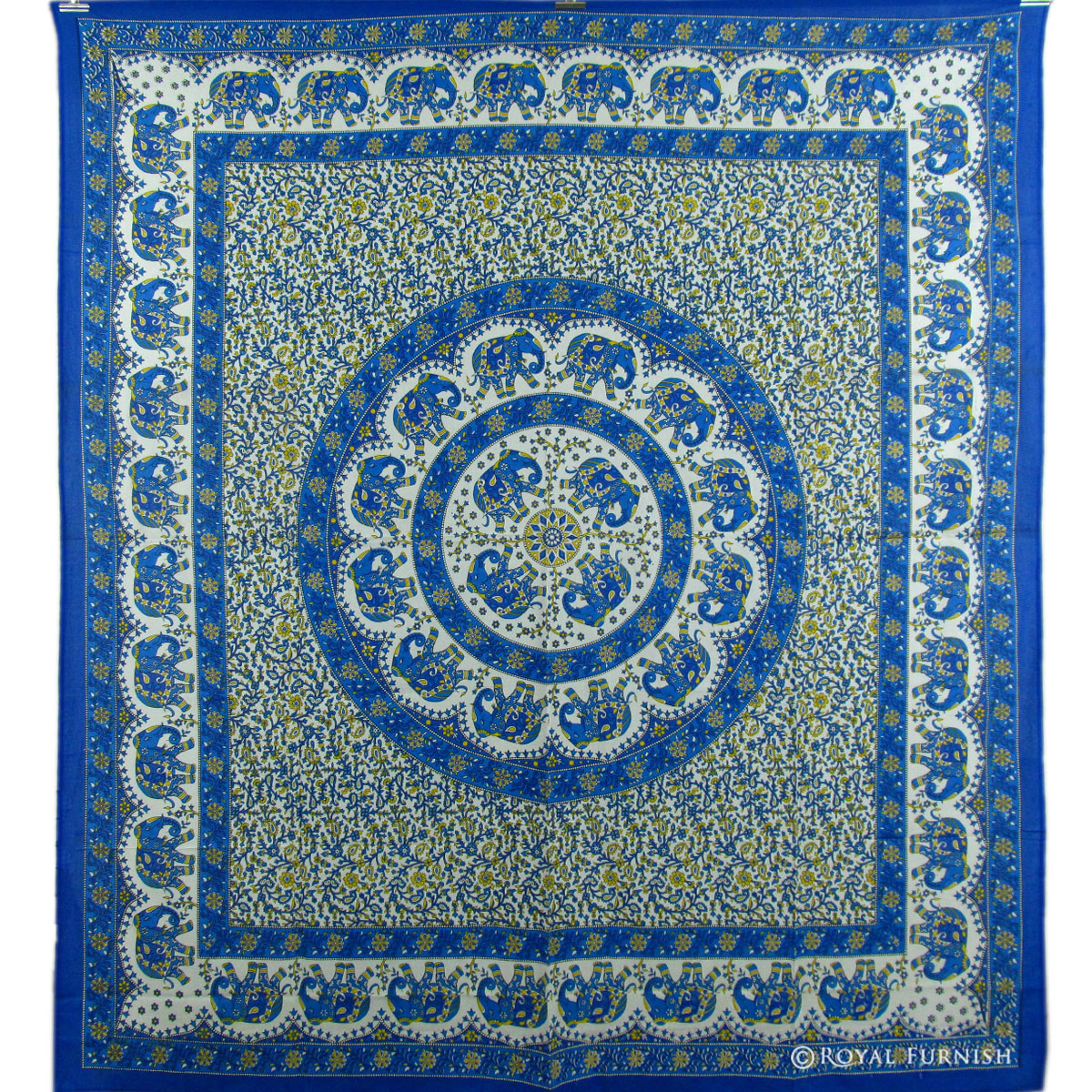 Decorative Wall Hanging Tapestry : Blue indian elephant mandala dorm decor tapestry wall