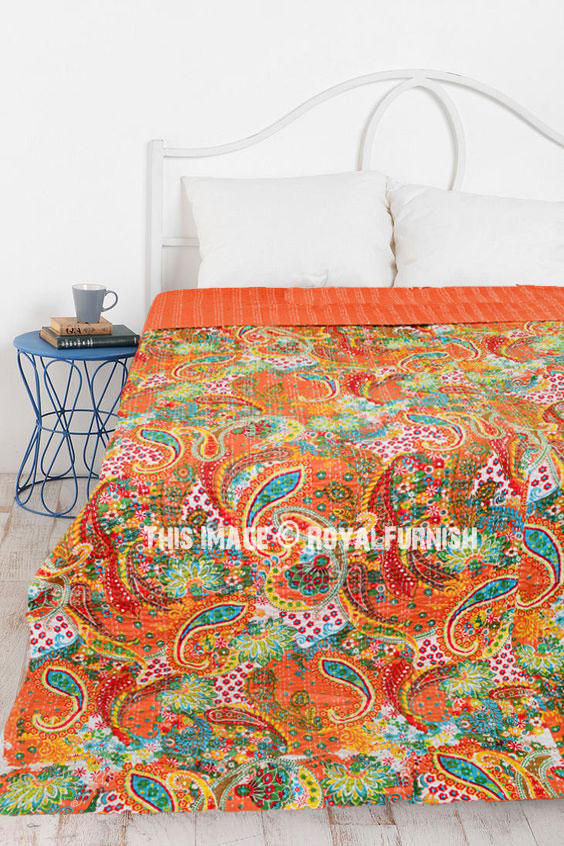Queen Size Paisley Indian Kantha Quilt Throw Blanket