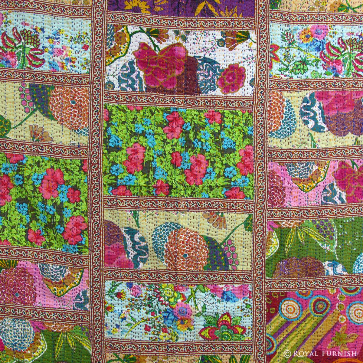 Queen Size Multicolor Patchwork Kantha Quilt Blanket