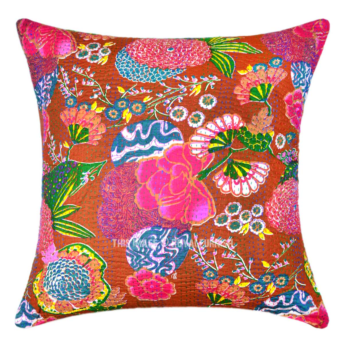 Decorative Pillows Tropical : Brown Multi Tropical Flower Featuring Outdoor Decorative Pillow Cover 24X24 - RoyalFurnish.com