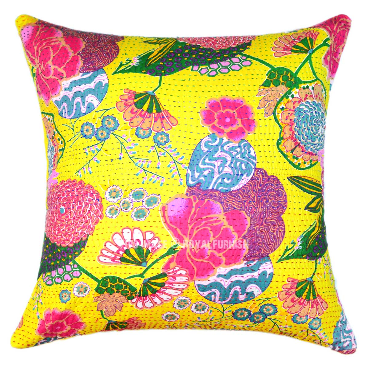 24x24 Yellow Indian Floral Kantha Throw Pillow For Sofa