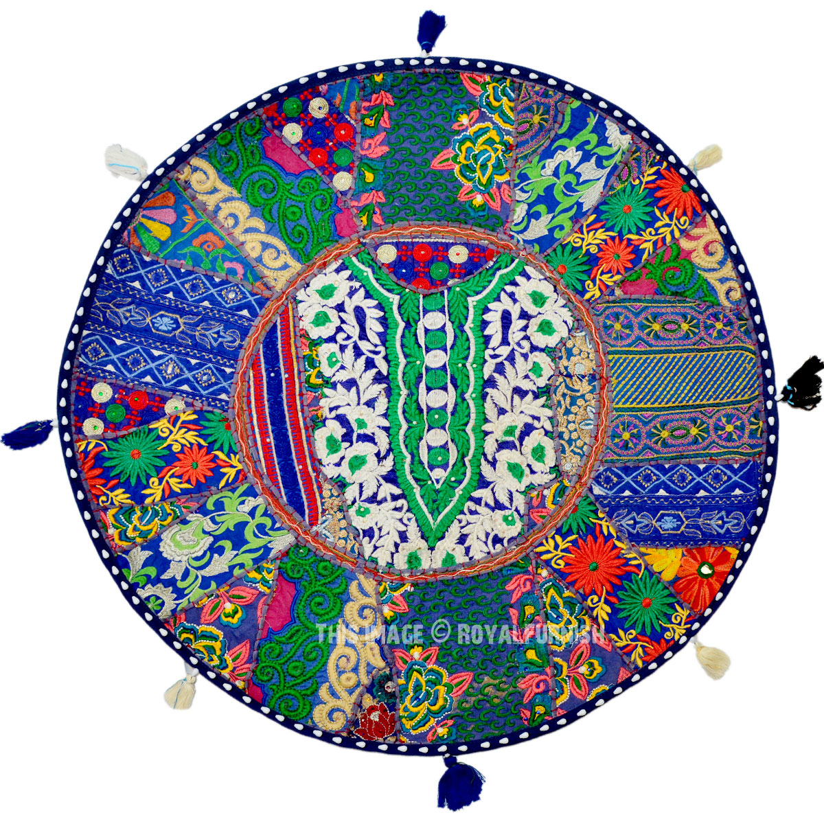 Round Floor Pillow Blue : Blue Indian Round Patchwork Embroidered Floor Pillow Cushion Cover - RoyalFurnish.com