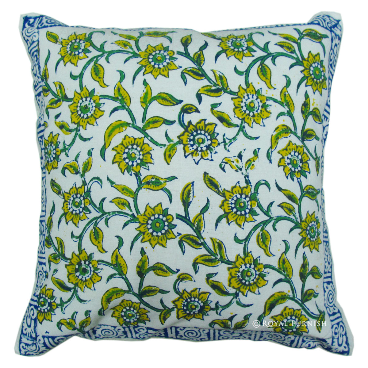 16x16 Quot Inch Indian Block Printed Cotton Cushion Cover