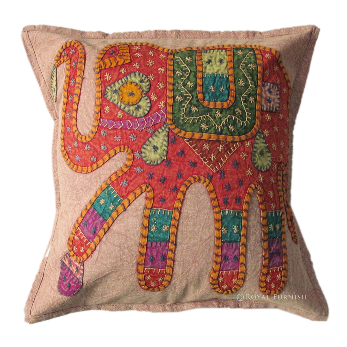 "Mandala Wall Decor 16"" Pink Indian Elephant Patch Embroidered Cushion Pillow ..."