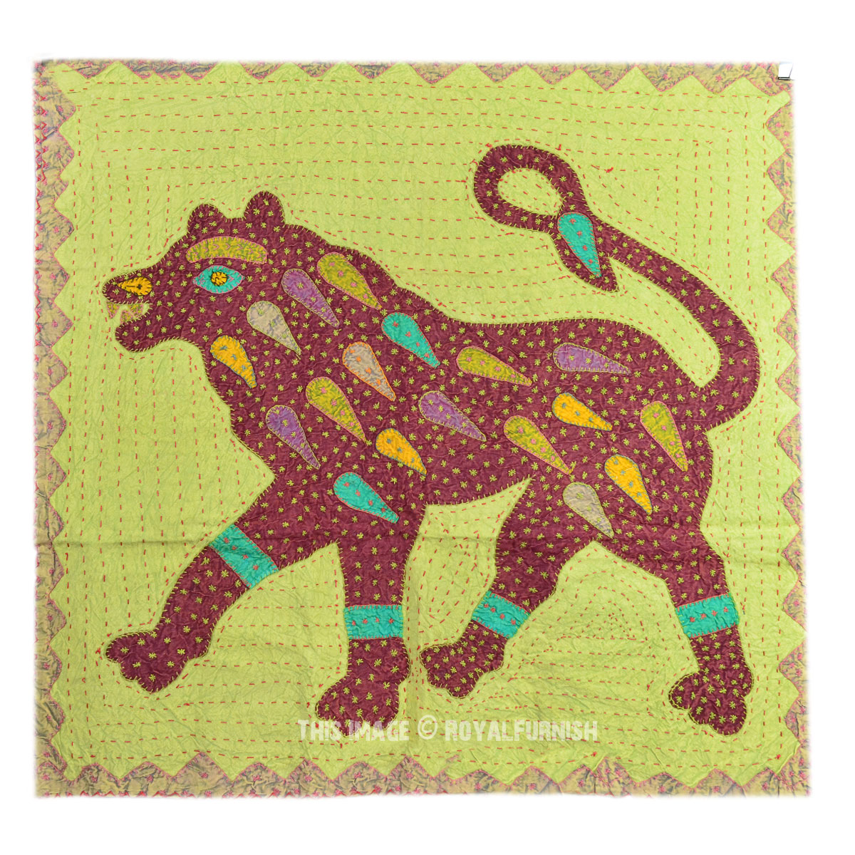 Big Size Tiger Kantha Patchwork Wall Hanging Tapestry Decor Art ...