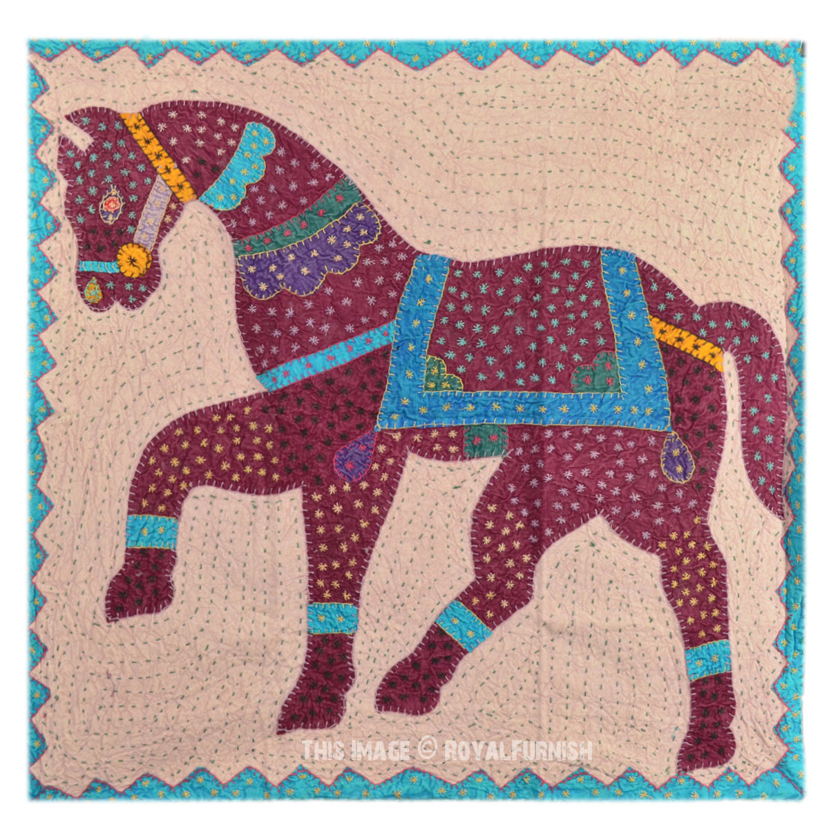 Big size horse kantha patchwork fabric wall hanging decor for Fabric wall art