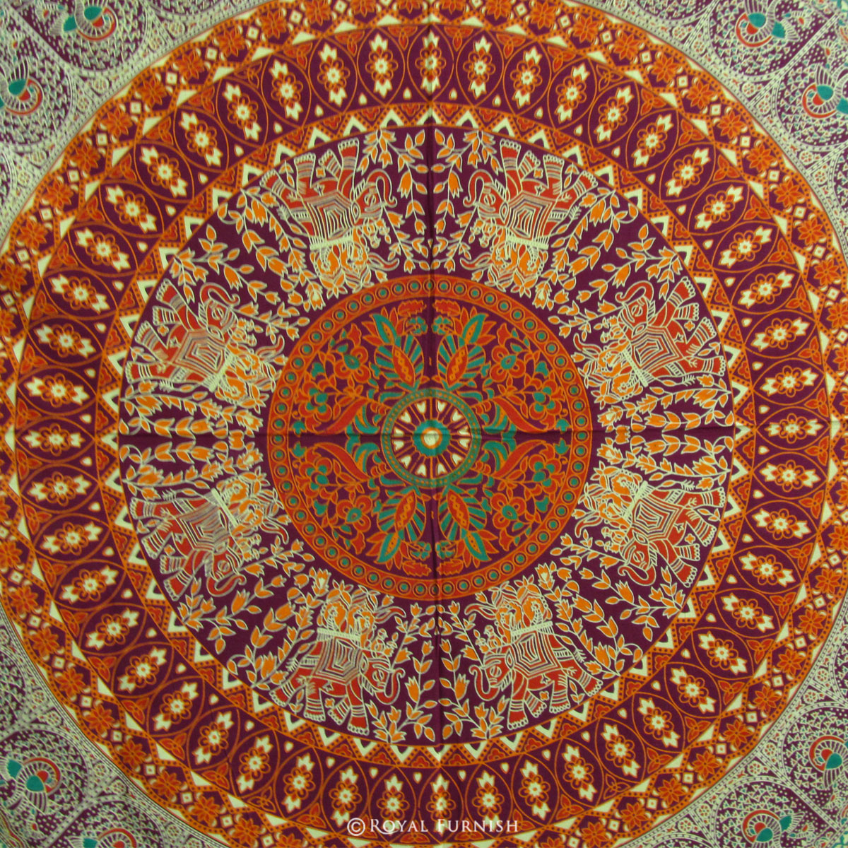 Indian Red Floral Bird Paradise Mandala Tapestry Hippie ...