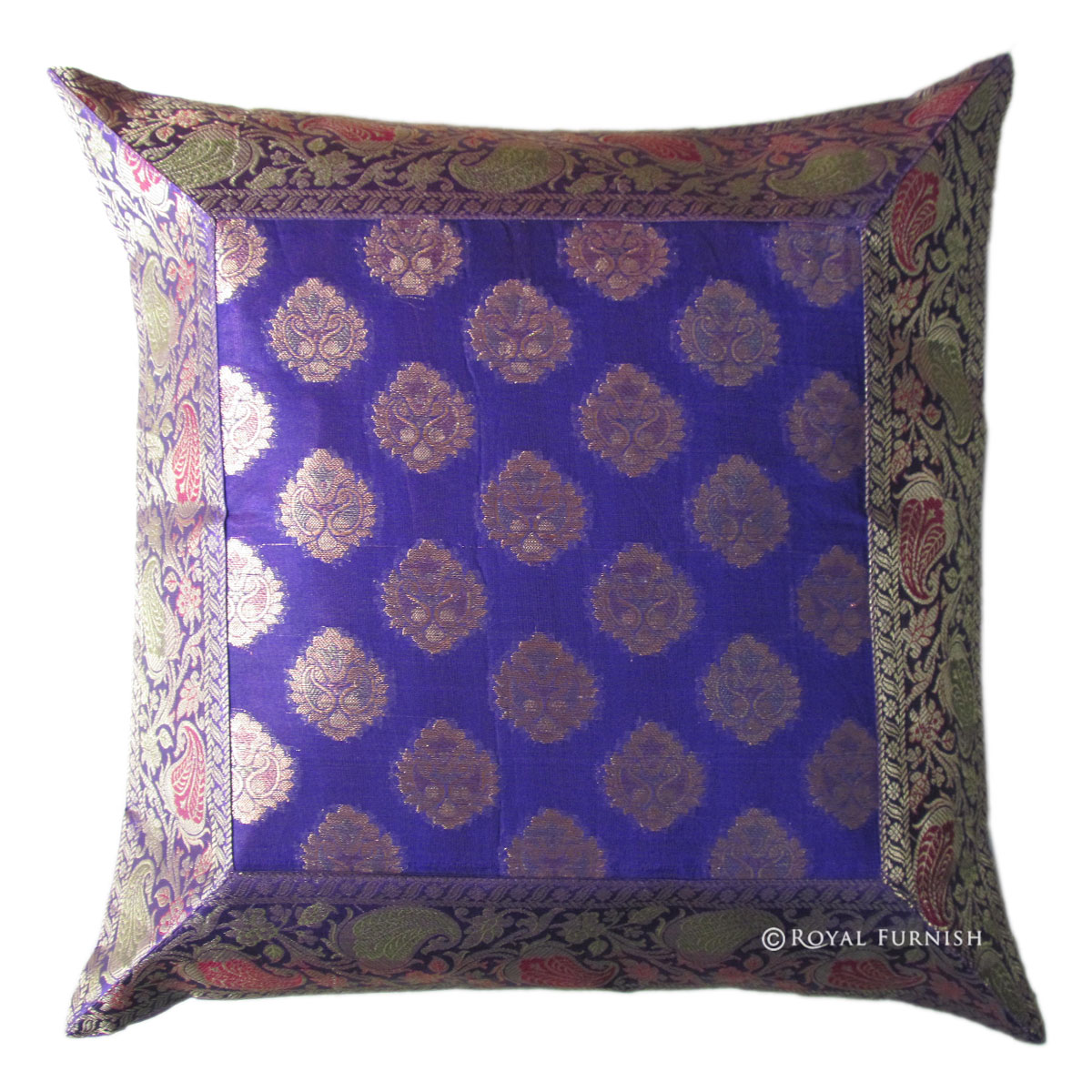 Indian Silk Brocade Floral Throw Pillow Sham For Couch