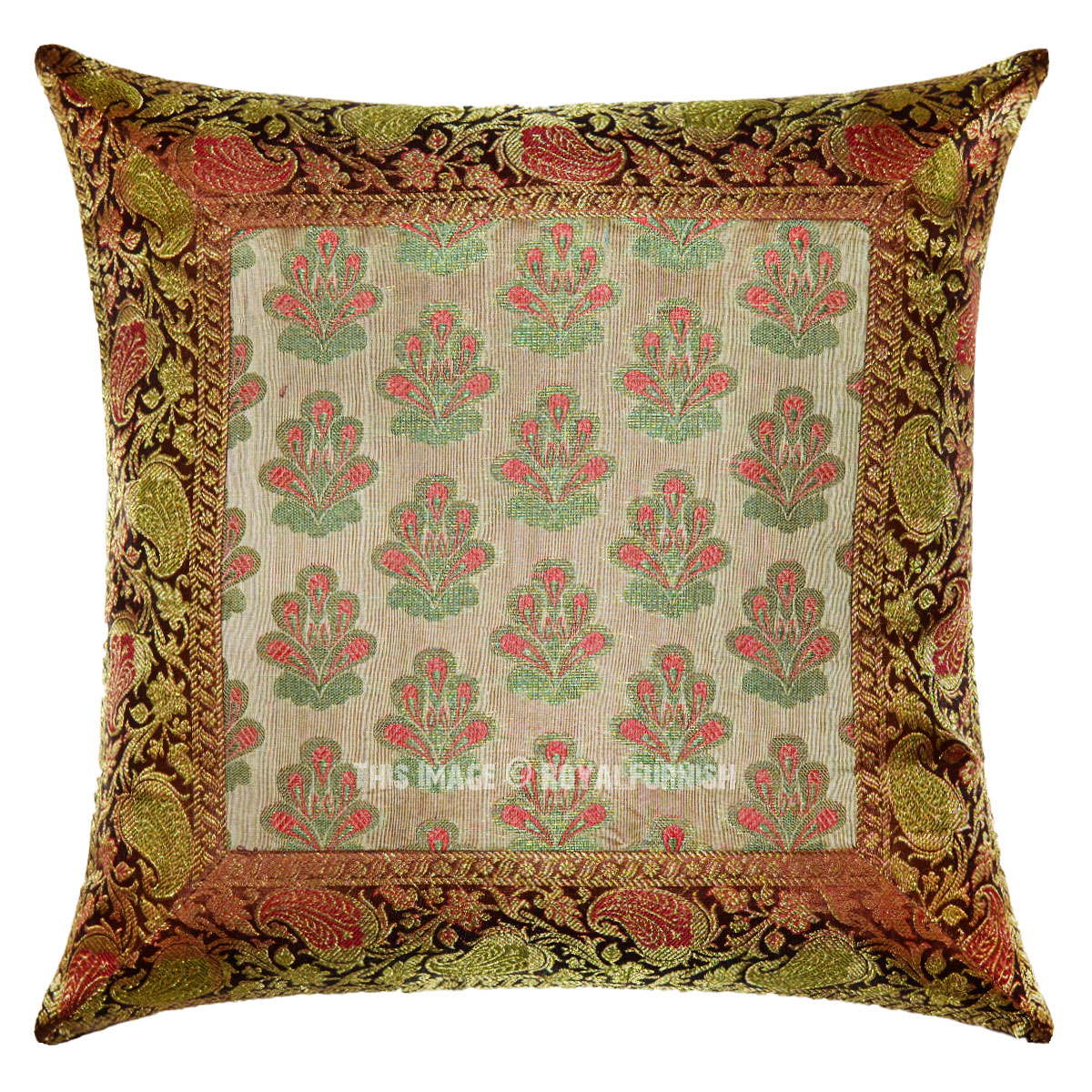 Brown Floral Throw Pillow : 16