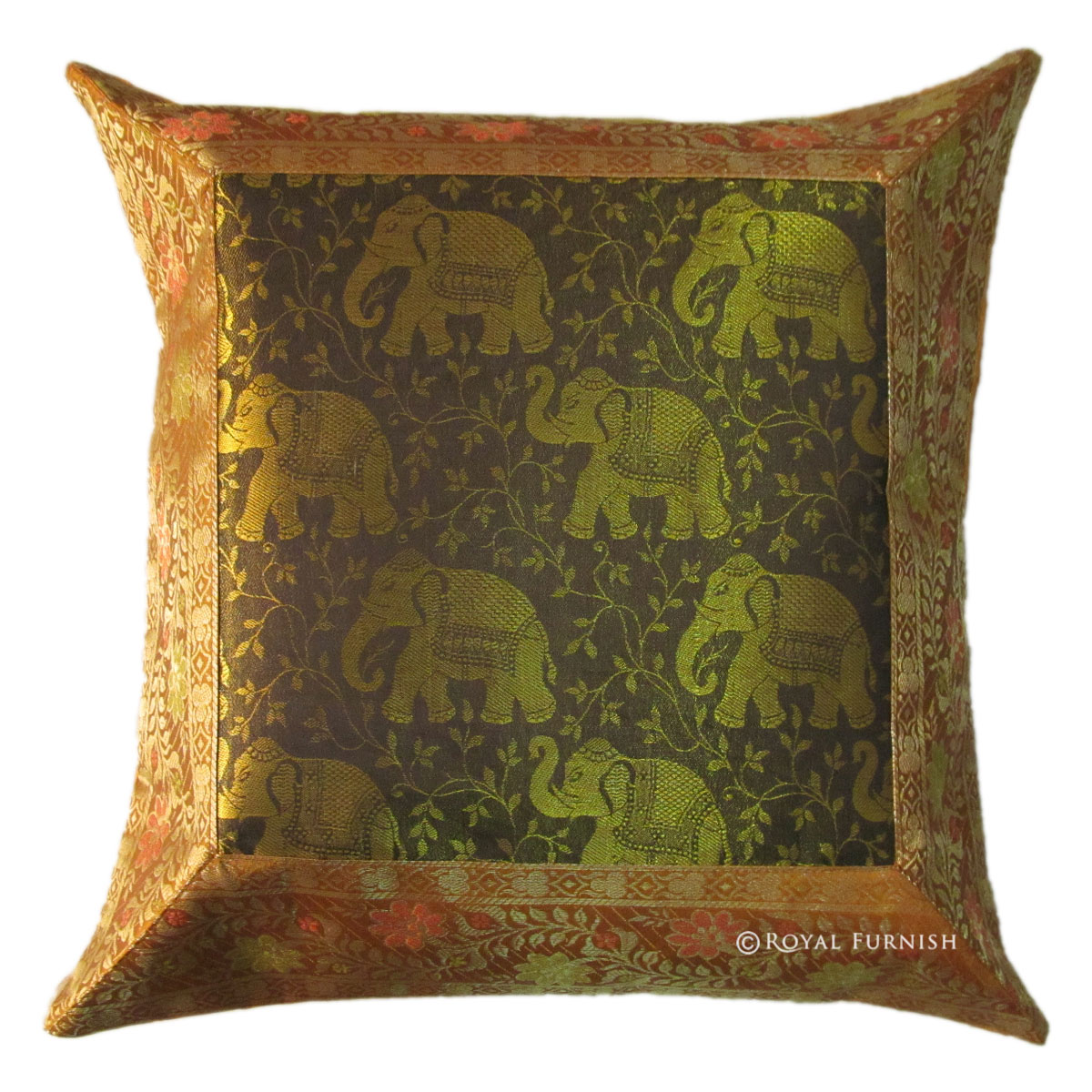 16 gold decorative elephant animal silk brocade throw pillow case. Black Bedroom Furniture Sets. Home Design Ideas