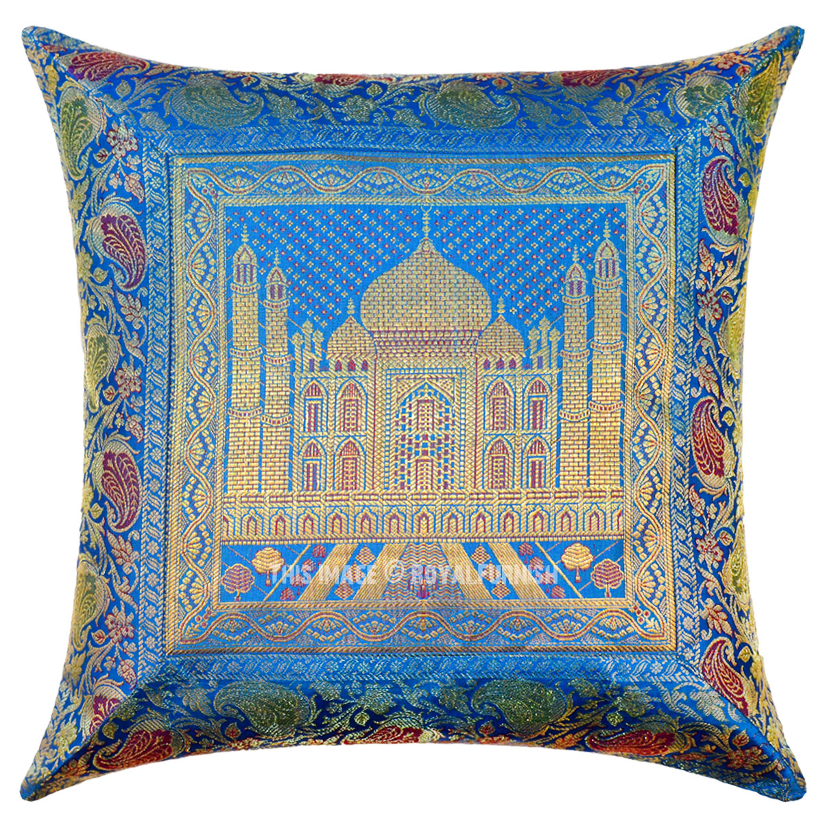 16 Quot Turquoise Blue Indian Tajmahal Silk Brocade Sofa Throw