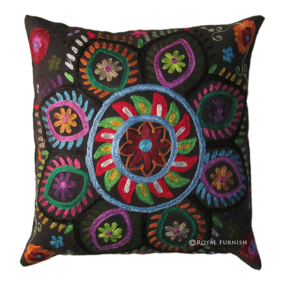 16 Quot Indian Suzani Embroidered Decorative Throw Pillow Case