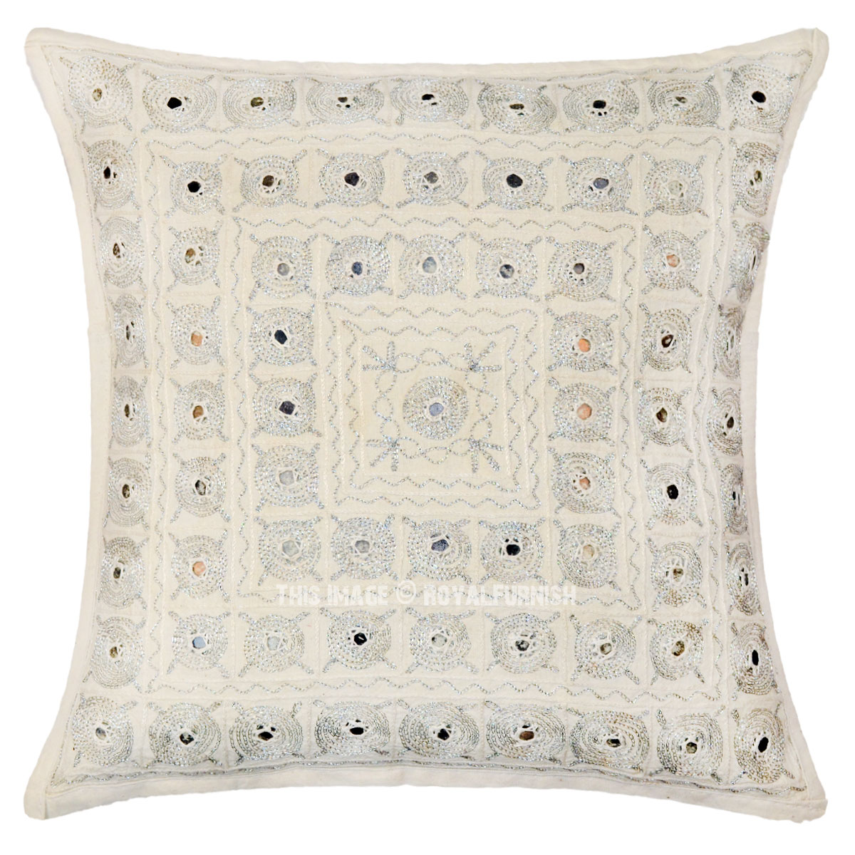 Decorative Pillows With Mirrors : Unique Indian Mirror Embroidered Decorative Cotton Throw Pillow Case - RoyalFurnish.com