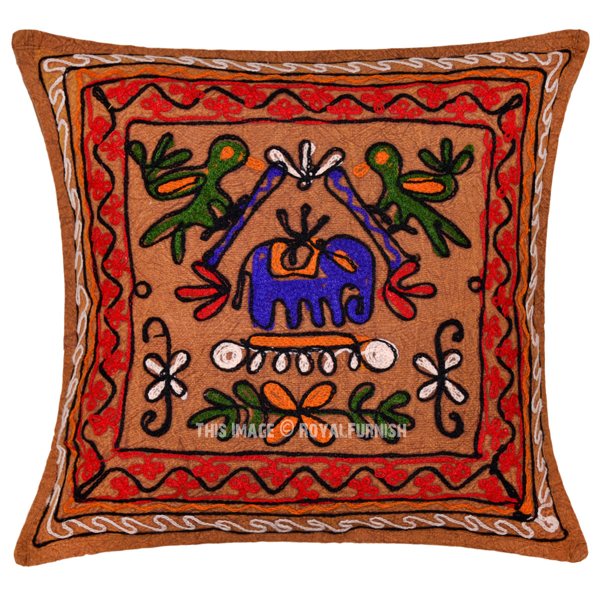 Vintage Decorative Throw Pillows : Vintage Indian Embroidered Animal Design Decorative Throw Pillow Case - RoyalFurnish.com
