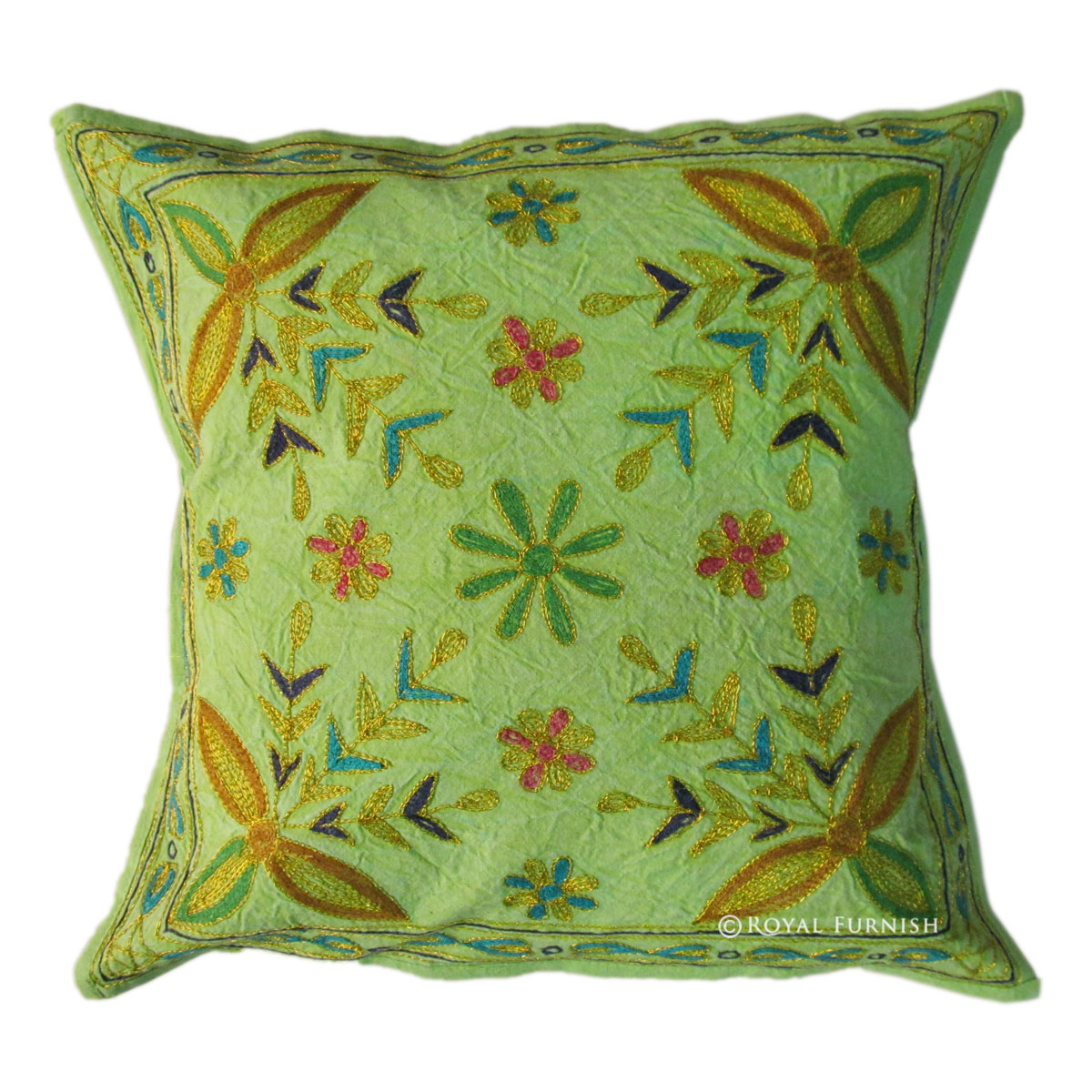 Floral Embroidered Decorative Pillow : Indian Ari Zari Embroidered Decorative Floral Cotton Throw Pillow Case - RoyalFurnish.com