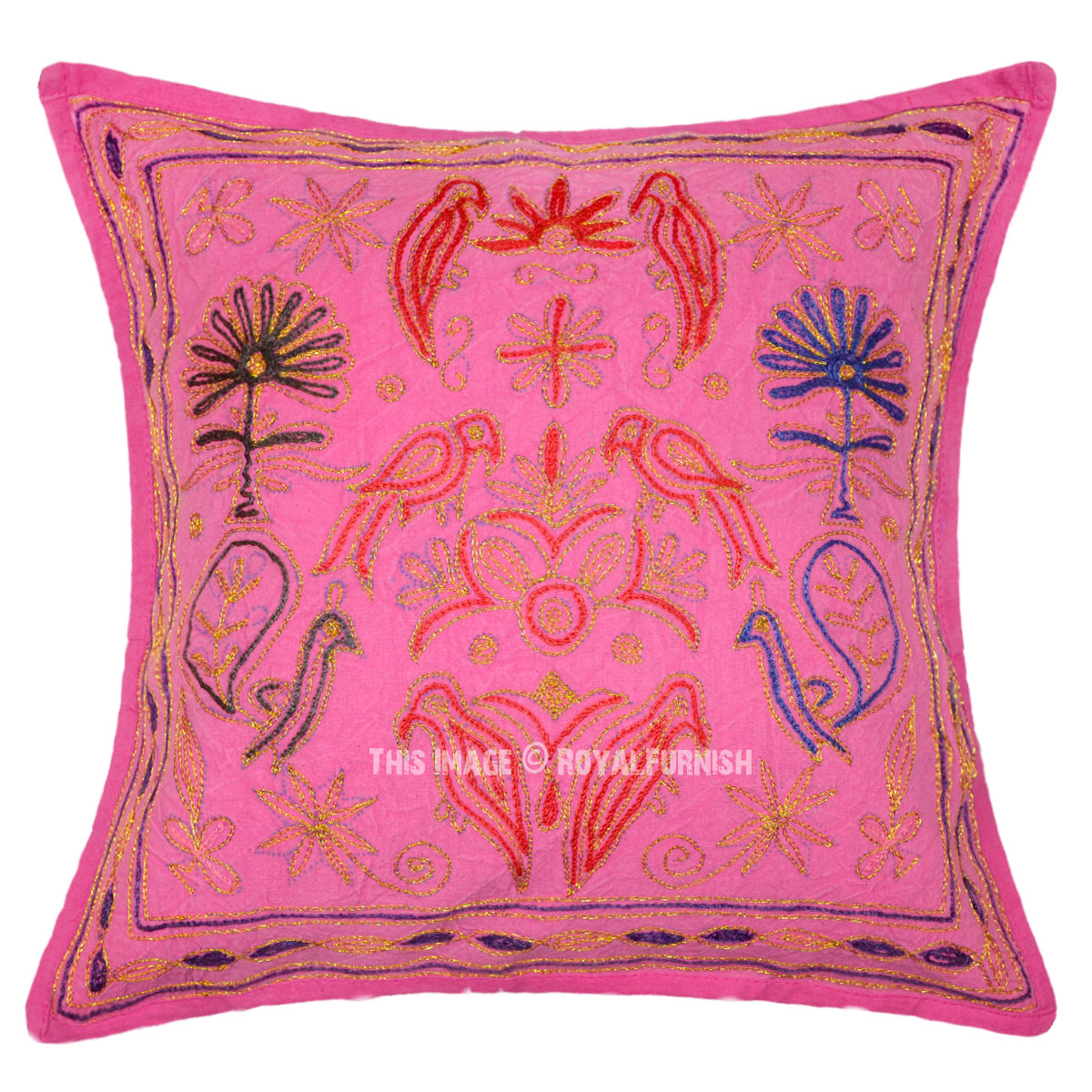 Pink animal design indian embroidered cotton decorative