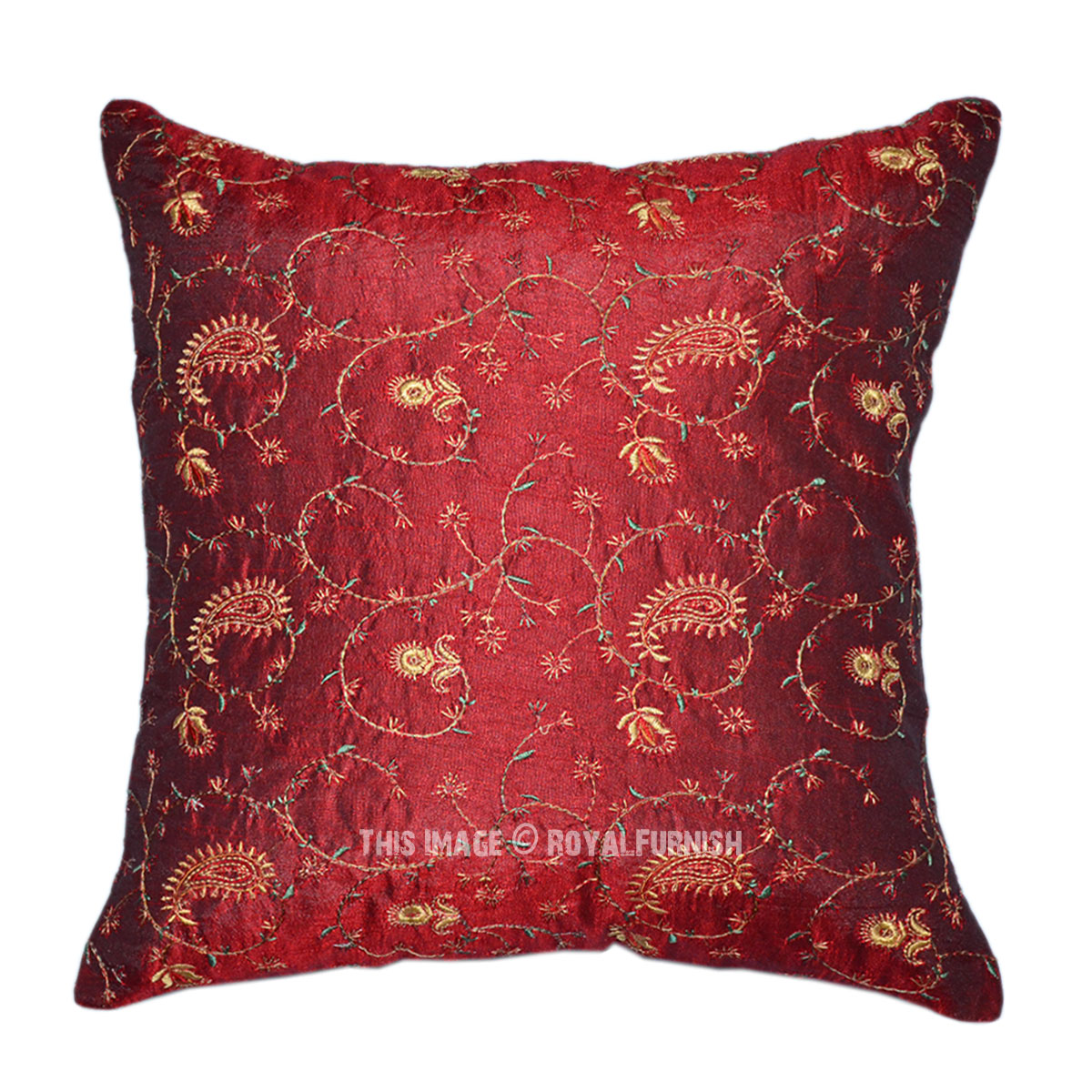 Red Indian Floral Embroidered Decorative Silk Throw Pillow Case - RoyalFurnish.com