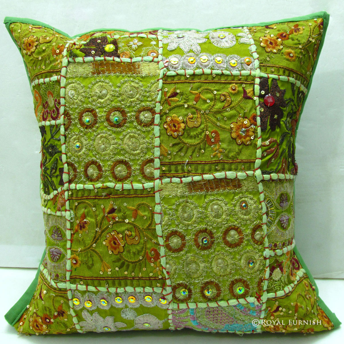 Yellow Embroidered Throw Pillows : Yellow Indian Decorative Patchwork Embroidery Throw Pillow - RoyalFurnish.com