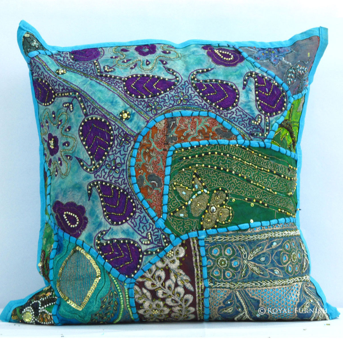 Blue Beaded Throw Pillow : Blue India Handmade Heavy Beaded Patchwork Pillow Sham - RoyalFurnish.com