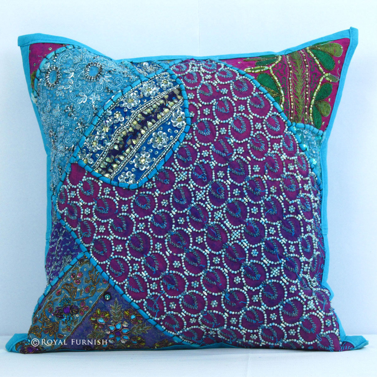 Elegant Handmade Heavy Beaded Indian Vintage Throw Pillow - RoyalFurnish.com