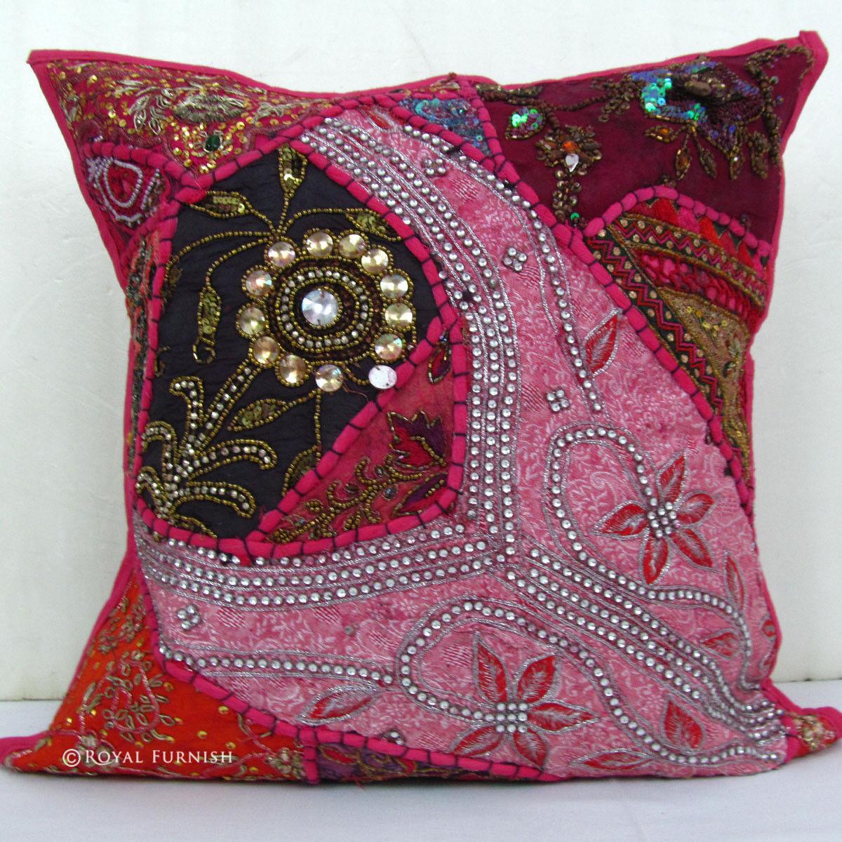 Pink Beaded Decorative Pillow : Pink Tribal Bohemian Heavy Beaded Vintage Decorative Throw Pillow - RoyalFurnish.com