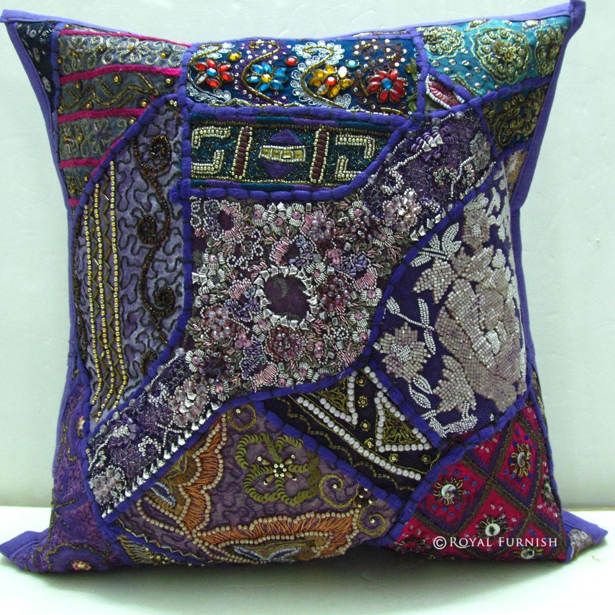 Purple Heavy Beaded Vintage India Patchwork Toss Pillow Sham - RoyalFurnish.com