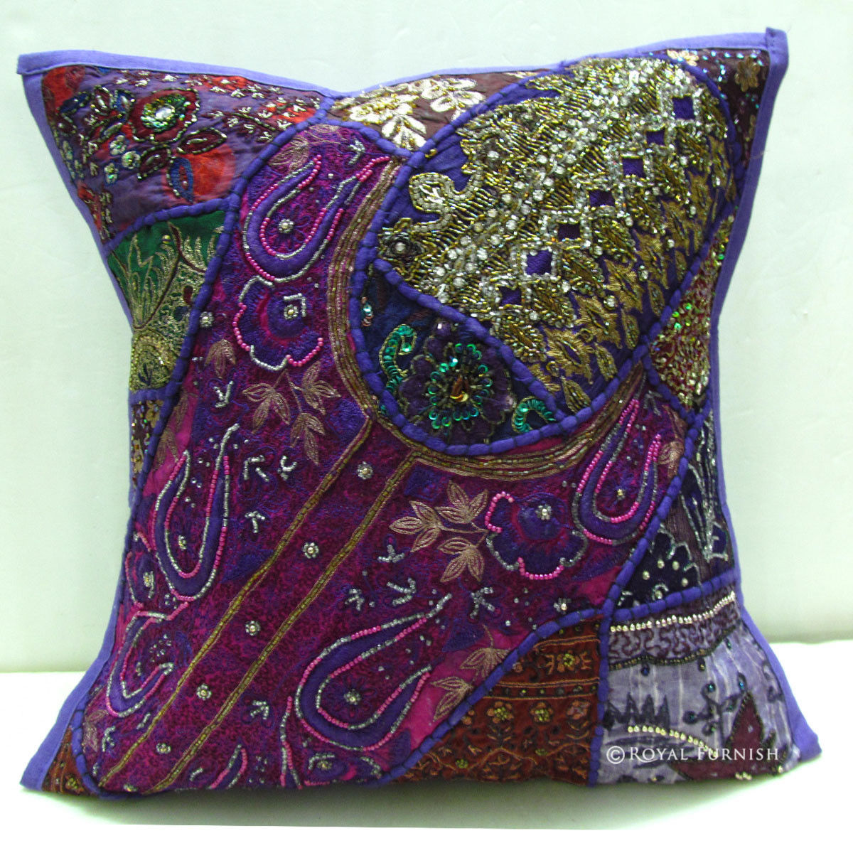 Decorative vintage handmade beaded embroidery throw pillow - Decorative throw pillows ...