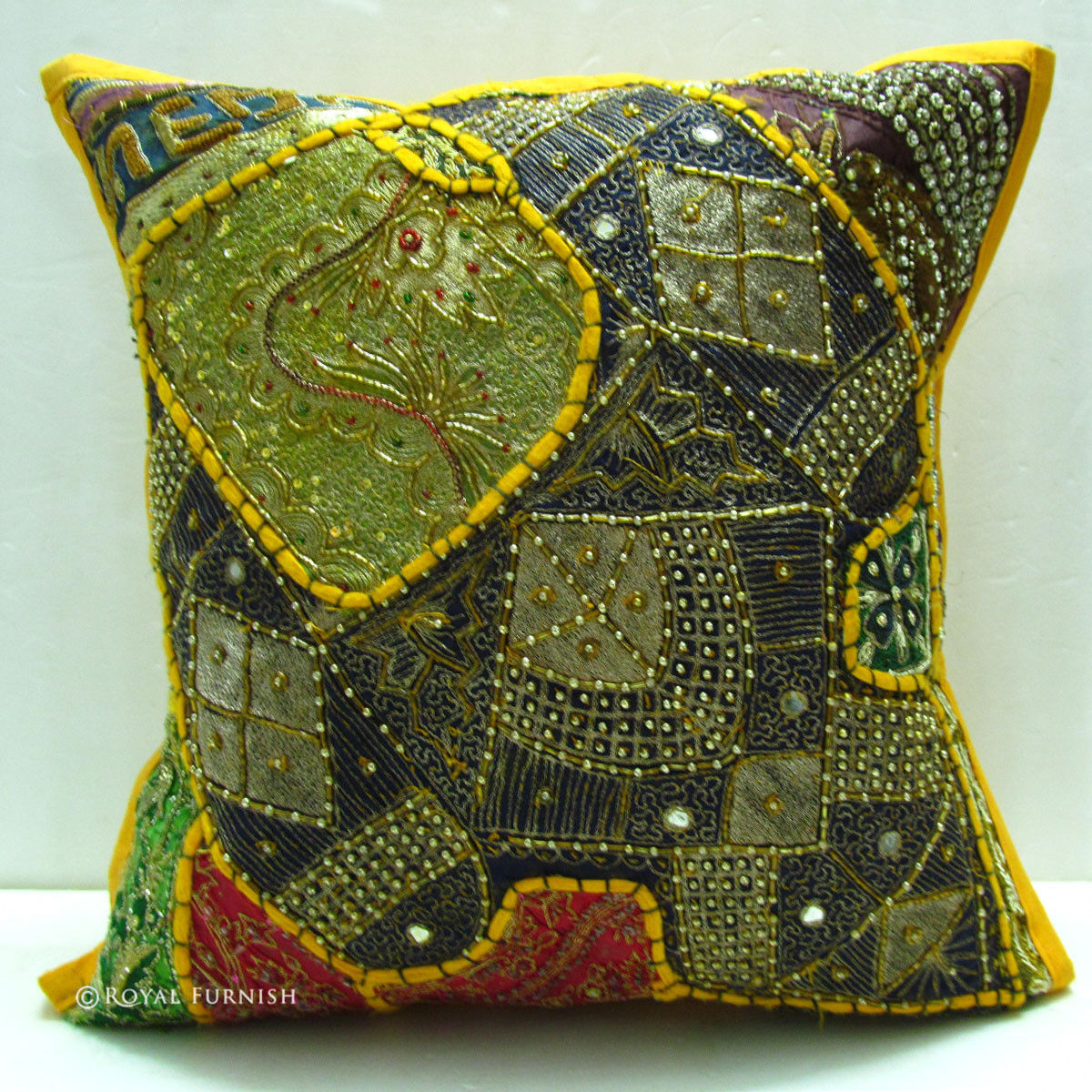 Yellow Handmade Beaded Embroidery Vintage Toss Pillow