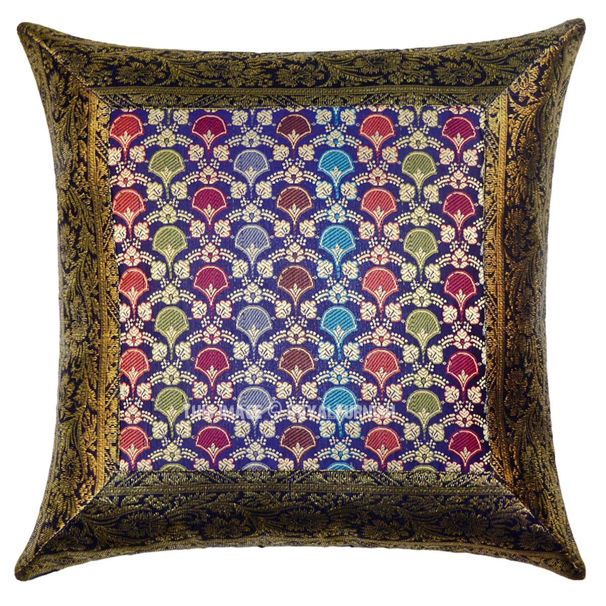 Blue Indian Floral Silk Brocade Toss Pillow Case