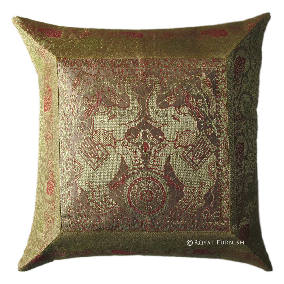 Gold Silk Brocade Elephant Decorative Accent Toss Pillow Sham - RoyalFurnish.com