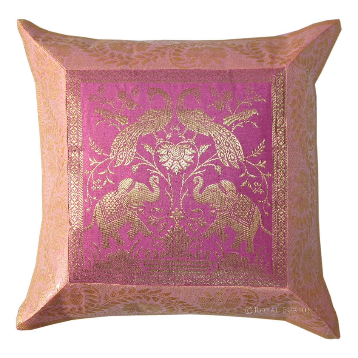 Pink White Indian Elephant Silk Brocade Decorative Accent