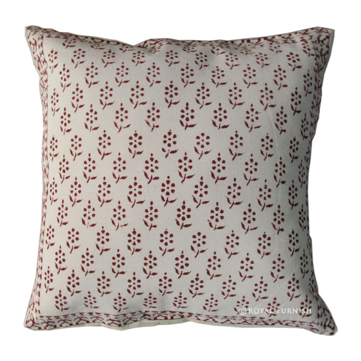 Decorative Pillow Cases White : White Hand Block Decorative Accent Floral Throw Pillow Case - RoyalFurnish.com