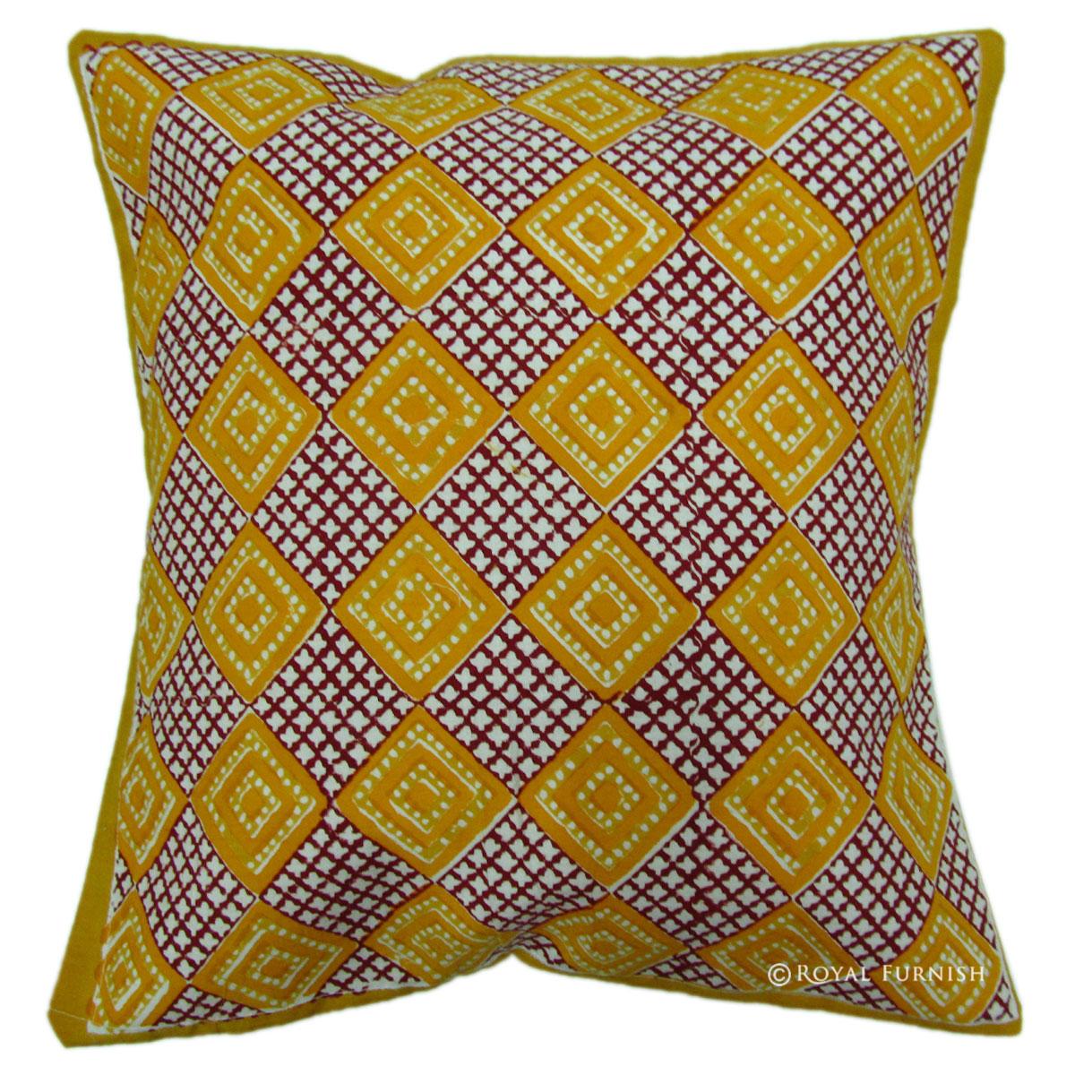 Orange Hand Block Contemporary Decorative Accent Pillow Cover - RoyalFurnish.com