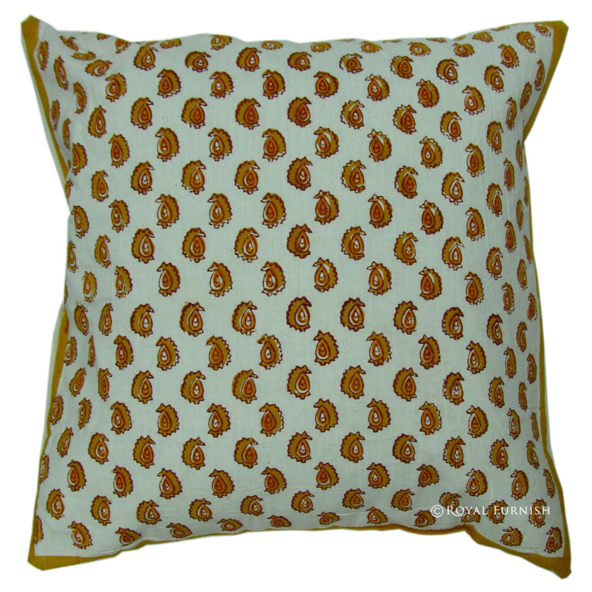 White Indian Small Floral Decorative Hand Block Cushion