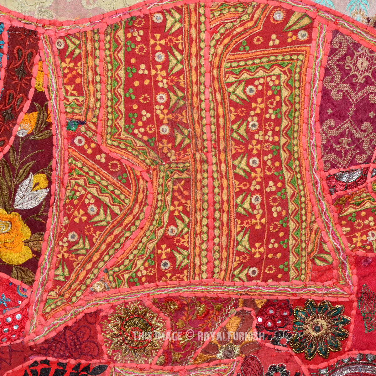 Red Big Size Square Multi Patch Indian Elephant Tapestry