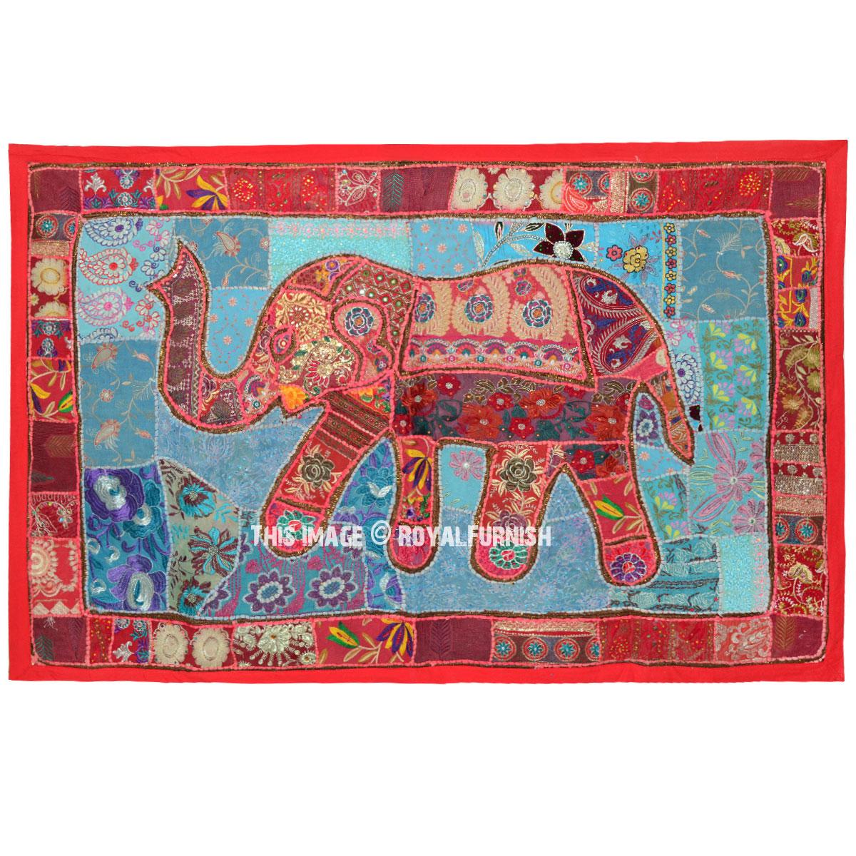 ae69590afa Oversize Indian Multi Patches Bohemian Elephant Tapestry Wall Hanging -  RoyalFurnish.com